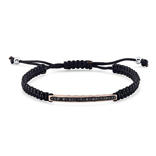 Victoria Kay 1/3ct Black Diamond Bar Bracelet In Black & White Rhodium Plated Sterling Silver