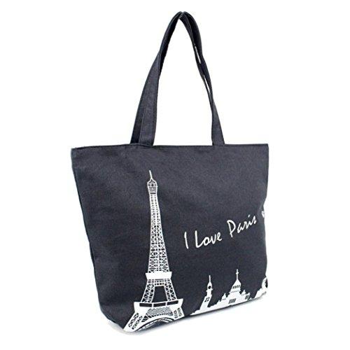 Women Girl Canvas Travel Handbag Shoulder Shopping Bag Paris Eiffel - 9