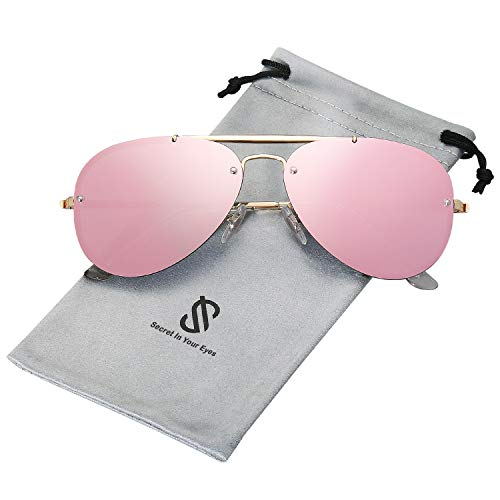 SOJOS Rimless Aviator Sunglasses for Men and Women Metal Frame Mirrored Lens TRENDALERT SJ1105 with Gold Frame/Pink Mirrored ()