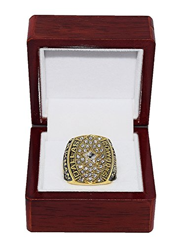DALLAS COWBOYS (Troy Aikman) 1992 SUPER BOWL XXVII WORLD CHAMPIONS (Playing Vs. Buffalo Bills) Rare & Collectible High Quality Replica NFL Football Championship Ring with Cherrywood Display Box