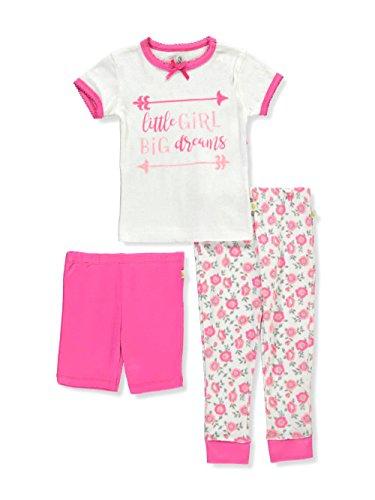 Duck Duck Goose Little Girls' Toddler 3-Piece Pajama Set - White/Multi, (Little Goose Girl)