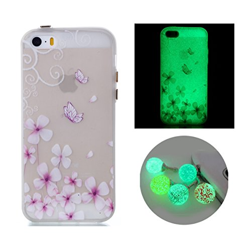 iPhone 5s Case, Bernect Colorful Luminous Clear Case Glow In The Dark Noctilucent Soft TPU Slim-Fit Cover for Apple iPhone 5/5s/SE (4.0inch) +2pcs Luminous Dustplug-Butterfly Flower (Case The Iphone 4 Glow Dark In)