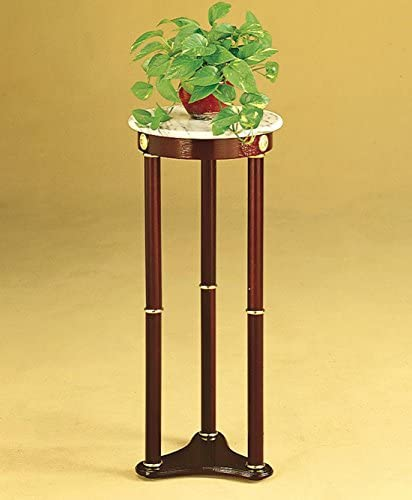 Coaster Plant Stand Side Table, White Marble Top and Cherry Finish Wood Base