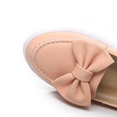 AllhqFashion Damen Weiches Material Ziehen auf Rund Zehe Rein Pumps Schuhe Pink
