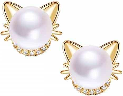 e8fa18b42 Girl's Cute Cat Ear & Twisted Love Knot Sterling Silver Post Stud Earrings
