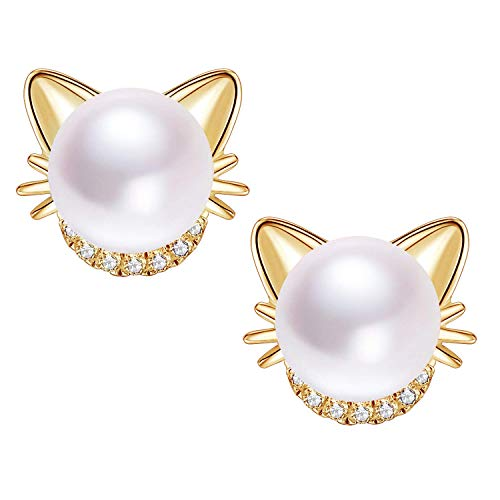 18K Gold Plated Cat Ear Freshwater Cultured Pearl Stud Earrings for Women Teens Girls