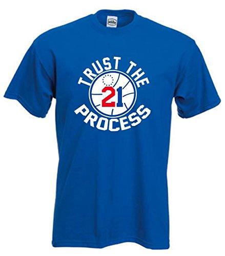 Blue Philadelphia Embiid 'Trust the Process' T-Shirt ADULT LARGE