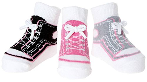Baby Infant Toddler Girl Shoe Look Socks-Anti Slip Soles - Soft Combed Cotton - 3 Pairs - Gift for Newborn (0-12 Months, Girl Sneaker Socks - ()