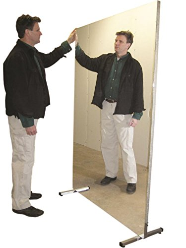 Fabrication Glassless mirror, stationary with stand, vertical, 16'' W x 48'' H by Fabrication