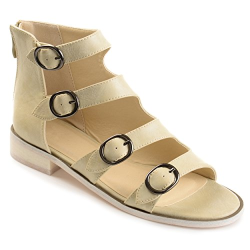 Journee Collection Womens Distressed Side Buckle High-top Sandals Bone, 8 Regular US