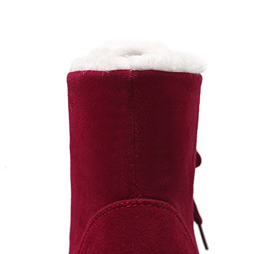 AgooLar Women's Low Heels Solid Round Closed Toe Frosted Lace up Boots Claret HaF6HzquI3