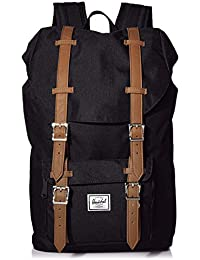Little America Laptop Backpack, Black/Tan Synthetic Leather, Classic 25.0L