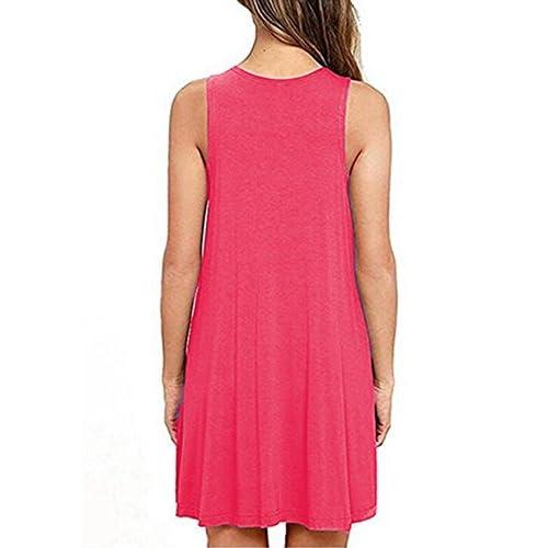 dea52b409d7 good Women s Sleeveless Pockets Casual T-Shirt Dress Loose Tank Top Swing  Summer Plus Size