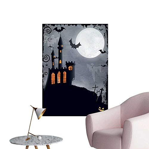 Jaydevn Vintage Halloween Waterproof Art Wall Paper Poster Halloween Themed Asymmetric Caste with Scary Bats and Ghosts Full Moon Decoration The Decorations Living Room Black Grey W32 x H48 -