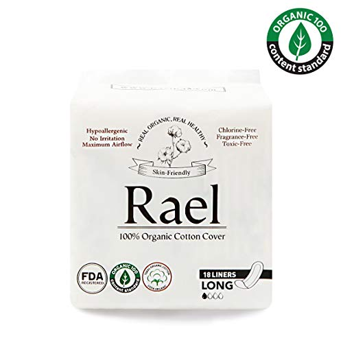 Rael Certified Organic Cotton, Unscented, Natural Daily Panty-Liners, Long, Pack of 4 (72 Count)