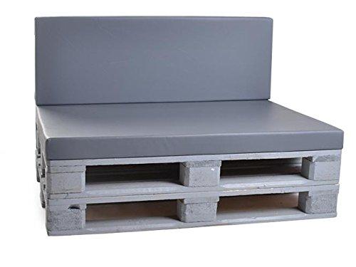Palettenkissen, Gartenmöbel Auflagen, Sitzbankauflage, Matratzenauflagen auch m. Rückenlehne bzw. Dekokissen in Kunstleder grau, wasserabweisend und strapazierfähig
