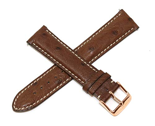 Swiss Legend 20MM Brown Ostrich Leather Watch Strap & Rose Gold Stainless Buckle fits 42mm Bellezza Watch