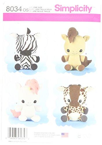 Plush Toy Pattern - Simplicity Patterns Animal Stuffies Size: Os (One Size), 8034