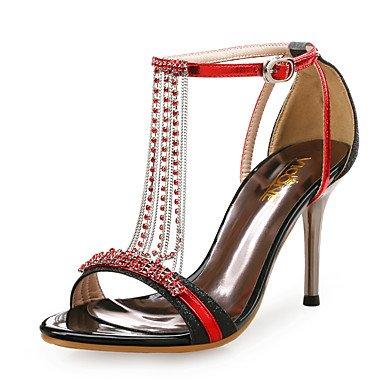 LvYuan Mujer-Tacón Stiletto-Zapatos del club-Sandalias-Boda Vestido Fiesta y Noche-Sintético Purpurina-Azul Rojo Plata Oro Gold