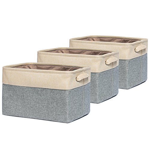 okdeals Collapsible Storage Bin Basket,Foldable Canvas Fabric Cube Storage Boxes with Handles for Home Office Closet,Grey[3-Pack] (3 Canvas Storage Boxes)