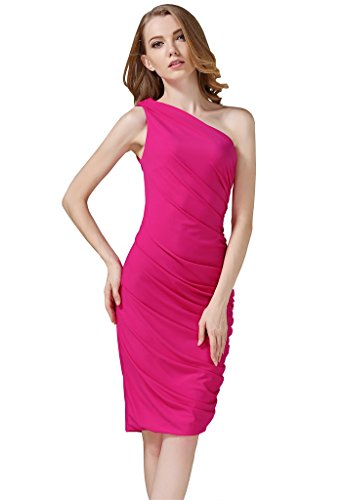 Ruched Silk Sheath Dress (Buenos Ninos Women's Sleeveless Sexy One Shoulder Bodycon Midi Sheath Dress Rosy M)