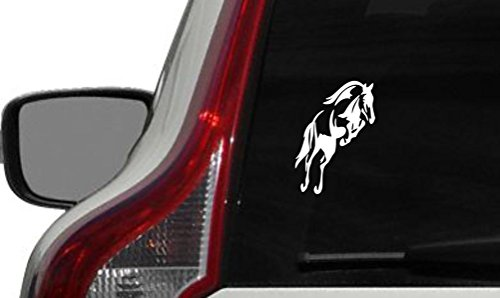 Horse Jumping Car Vinyl Sticker Decal Bumper Sticker for Auto Cars Trucks Windshield Custom Walls Windows Ipad Macbook Laptop and More White Color ()
