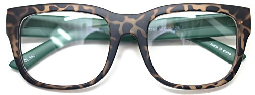 Nerd Geek Retro Eye Glasses Clear Lens Classic Oversized Square Horn Rim Spectacles (Leopard Green)
