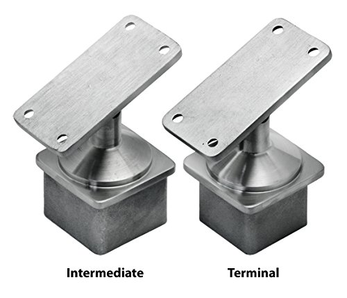 Flat Terminals - Stainless Steel Square Post Cap Reducer for Wood/Metal Top Guard Rail (Adjustable Flat Saddle for Terminal Post)