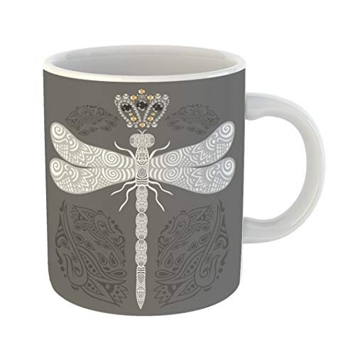 Emvency Coffee Tea Mug Gift 11 Ounces Funny Ceramic Lacy Dragonfly in Ornate Doodle and Jewelry Crown Retro Pattern Victorian Gifts For Family Friends Coworkers Boss Mug -