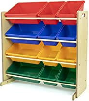 Humble Crew, Natural/Primary Kids' Toy Storage Organizer with 12 Plastic