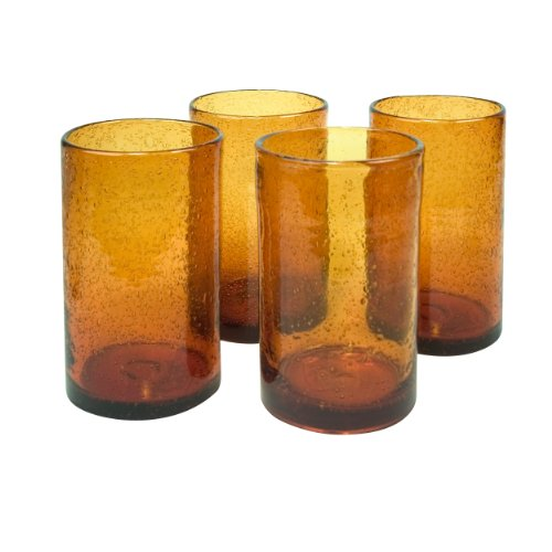Artland Iris Highball, 17-Ounce, Amber, Set of 4