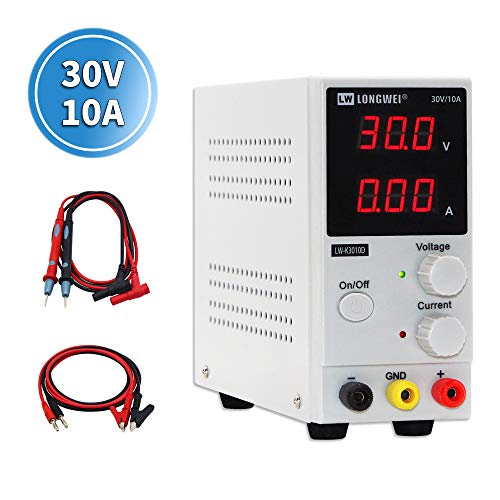 DC Power Supply Variable,0-30 V / 0-10 A LW-K3010D Adjustable Switching Regulated Power Supply Digital,with Alligator Leads US Power Cord Used for Spectrophotometer and lab Equipment Repair (Power Dc Variable Supply)