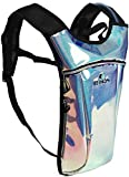 REINOS Hydration Backpack - Light Water Pack - 2L Water Bladder Included for Running, Hiking, Biking, Festivals, Raves (Glitter - Blue)