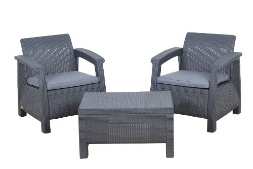 Atlantic Tahiti 3-Piece Conversation Set by Keter, Grey (Furniture Balcony Miami)