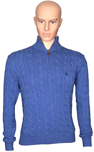 Polo+Ralph+Lauren+Men%27s+1%2F3+Zip+Cotton+Cable+Sweater+%28XXL%2C+Blue+Heather%29