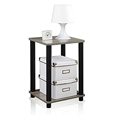 Furinno 99800GYW/BK Turn-N-Tube Haydn End Table, 1-Pack, French Oak Grey/Black - Simple stylish design comes in multiple color options, is functional and suitable for any room Material: composite wood, PVC tubes Fits in your space, fits on your budget - living-room-furniture, living-room, end-tables - 410024qm7QL. SS400  -