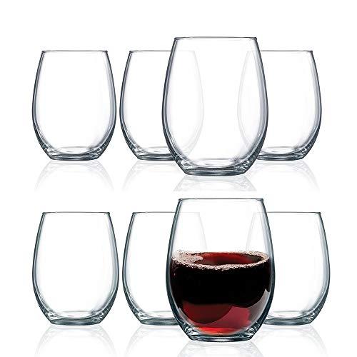 Homestockplus Unbreakable Stemless Wine Glasses Set of 8 Glass Feel 100% Tritan Plastic Heavy Base 16OZ   Shatterproof…