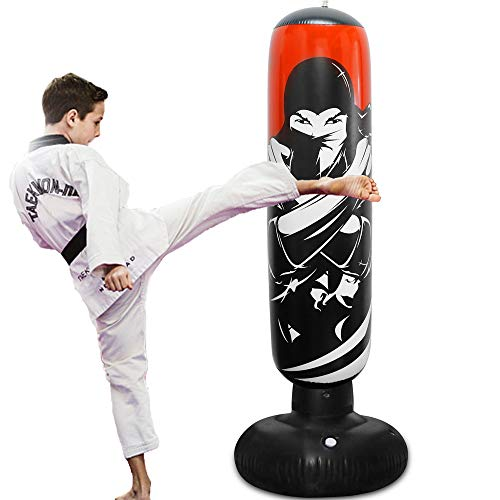 Zcaukya Inflatable Punching Bag, 5 FT/ 60 Inch Inflatable Ninja Boxing Bag with Stand, Bounce-Back Karate Punching Bag…