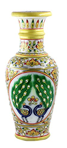 Style Souk Vase, Vases, Marble Vase Gold Embossed Meenakari Kundan Work Vase with Work Gift for Any Occasion Gift Set Of 1 Pcs (13 Nights Of Halloween 2017 Codes)