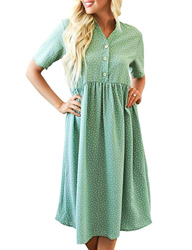 MIJIRUSHI Women's Polka Dot Dress Summer Short Sleeve Casual Loose Swing T-Shirt Dress, Green, L