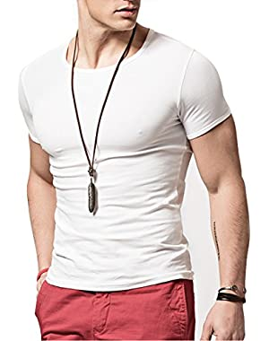 Hyuling Mens Short Sleeves T-Shirt Crew-Neck