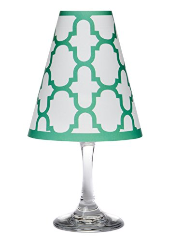 di Potter WS312 Nantucket Fret Paper White Wine Glass Shade, Emerald Green (Pack of 12) by di Potter