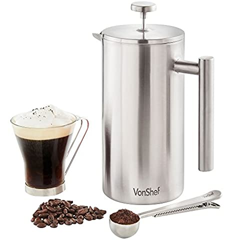 VonShef 12 Cup Double-Wall Keep Warm Satin Brushed Stainless Steel Cafetiere Coffee Filter - includes Measuring Spoon & Bag Sealing