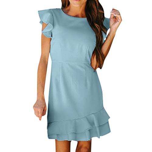 (CCOOfhhc Womens Work Dresses Elegant Crew Neck Flounce Sleeves Ruffle Hem Mini Dress Summer Office Sheath Dress Blue)