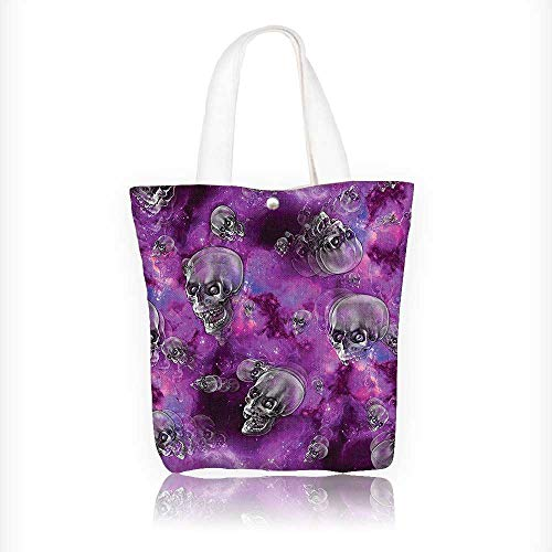 Canvas Tote Bags Horror Movie Themed Flying Skull Heads Halloween in Outer Space Image Black and Design Your Own Party Favor Pack Tote Canvas Bags by Big Mo's Toys W11xH11xD3 INCH