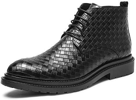男性ハイトップドレスシューズ用アンクルブーツは、サイドジッパーアンキスキッドまでマイクロファイバーレザーラウンドトウグリッドエンボスレースを引っ張り YueB HAJ (Color : ブラック, サイズ : 25.5 CM)