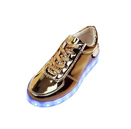 Modelos de pareja, Tefamore Zapatos de LED USB de carga de iluminación hasta zapatos de resplandor Zapatillas de moda intermitente Luminous Oro