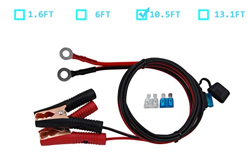 CUZEC 10.5FT/3.2m 16 AWG Extension Cord Eyelet Terminal with Battery Clamp 12V/24V Battery Clip-On for High-Power Inverter and More