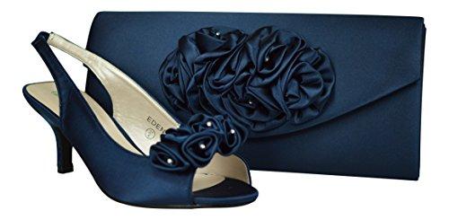 sandalias Pies fiesta de satén peep toe de bajo a azul bolso de mujer y boda de nupcial de zapatos marino damas juego baile tacón elegantes para rwxaqX7rnv