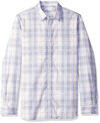 Calvin Klein Men's Long Sleeve Button Down Plaid Shirt, Standard White Classic, M